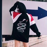 """Gucci"" Women Personality Letter Snake Pattern Print Embroidery Multicolor Loose Long Sleeve Hooded Pullover Sweater Tops"