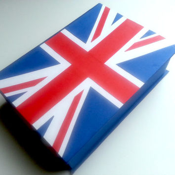 Keepsake Box - Union Jack Flag of United Kingdom Gift Personalized Design 5x7 Hand-bound Handmade Gift Customized