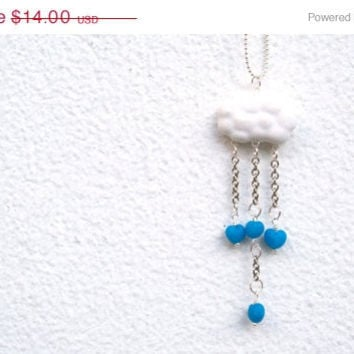 ON SALE Blue Heart Drops ,Polymer Clay Cloud ,Valentine's Day necklace, Handmade