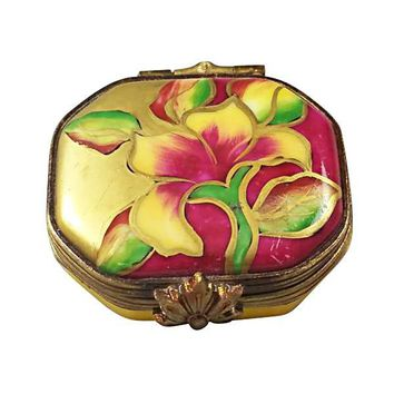 EIGHT SIDED FLORAL LIMOGES BOXES