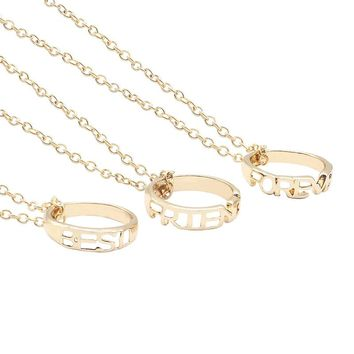 New Arrival Fashion Gold Color Alloy 3 PCS Best Friends Forever  BFF Hollow Round Pendant Necklaces Trendy Link Chain Neckalce