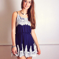 Navy Lace Affair Dress