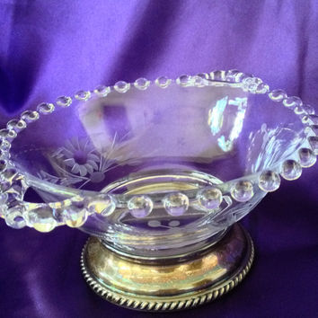 Imperial Candlewick Etched Crystal Silver Pedestal Bowl, Sauce, Mayo, Condiment, Small Serving Bowl, 1107
