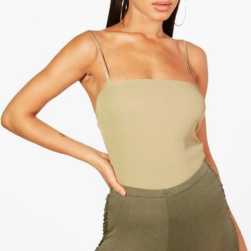 Billie Basic Rib Square Neck Bodysuit | Boohoo