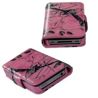 Apple iPhone 4 4s Pink Camo Mossy Tree Leather Wallet Purse Handbag Case Cover with Clear Slot for ID, Credit Card Slots and Hidden Slot for Cash