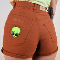 Vintage LEVIS Up Cycled HIGH Waist Camel Nude ALIEN head Shorts