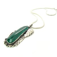 Native American Necklace. Huge Malachite Pendant. Sterling Silver Leaf, Rope & Suns. Vintage Navajo Jewelry. Heavy 43.1 g