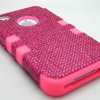 For iPhone 4 4S Phone Hybrid Combo Cover Tuff Impact Case Pink Bling Hard & Soft