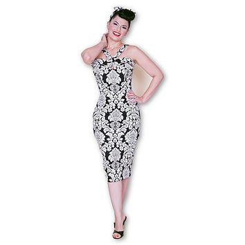 Goddess Wiggle Dress in Black and White Damask