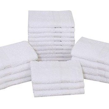 "60 PCS (16""x30"") PREMIUM DOBBY BORDER LUXURY HAND TOWEL BRIGHT WHITE (5 Dozen)"