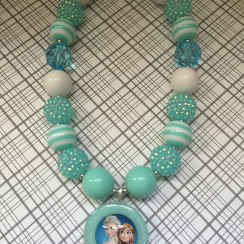 Girls Jewelry/Frozen/Elsa And Anna/Toddler/Baby/Necklace-Bracelet Set/Chunky Necklace/Bubble Gum Beads/Gift Giving/Christmas Gift