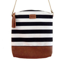 Canvas Bag, sac bag, Leather purse, Brown Leather and canvas tote bag, Stripes bag, Sale 25% off!! And FREE SHIPPING!