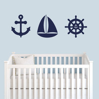 Wall Decal Vinyl Sticker Decals Art Decor Design Anchor Ship Wheel Children Set Sailor Sea Trip Dream Bedroom Nursery Kids Dorm (r321)