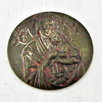 Antique Brass Hand Mirror, Mother and Child, Mother Mary and Baby Jesus, 1930s Art Deco Mirror, Catholic Christian Medal Medallion