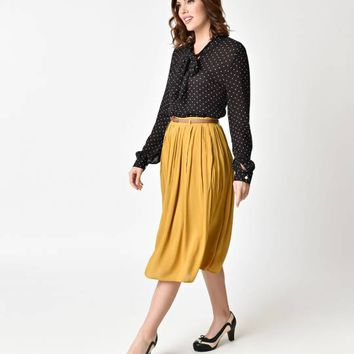Vintage Style Mustard Yellow Knee Length Pleated Skirt