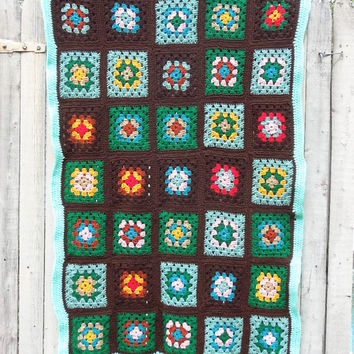 Vintage crochet afghan throw - Colorful granny square afghan in brown teal green orange yellow