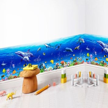 Underwater World Baseboard Wall Stickers For Kids Room Fish Shark Dolphin Mural Decals Kindergarten Kitchen Nursery Decorations