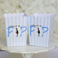 10 Blue About To Pop Baby Shower Boxes Favor Box Ready to Pop