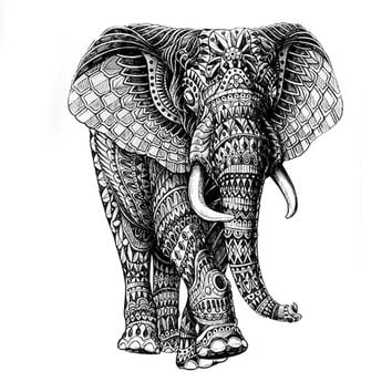 Mighty Elephant God Waterproof Temporary Tattoo sticker high quality Mechanical elephant Fake Tattoo sleeves Henna Tatoo