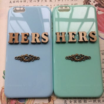 hers & hers, couple protective case for iPhone 6 iPhone 6 plus iPhone5/s, summer gift hard case,best friends gift,love gift, a pair of cases