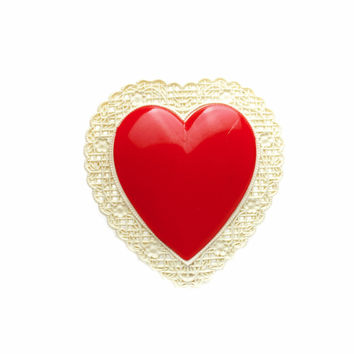 Red Celluloid Heart Brooch 1940s / b1