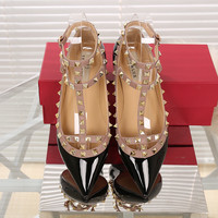 2016 Fashion Women Ankle Strap Flats Metal Studded Shoes Rivets Flat Shoes Pointed Toe Genuine Leather Ballerina Plus Size 34-43