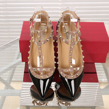 Fashion Women Shoes Ankle Strap Flats Rivet Flats Metal Studded Shoe Pointed Toe Flats Genuine Leather Ballerina Plus Size 34-43