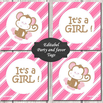 Editable-baby monkey Gift Tags Printables - Personalized - pink diagonal stripes Gift Tag