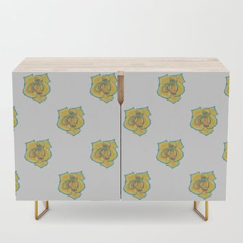 Yellow and Turquoise Rose Credenza by drawingsbylam