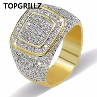 TOPGRILLZ Hip Hop Ring All Iced Out High Quality Micro Pave CZ Rings Women & Men Gold Ring For Love, Gift