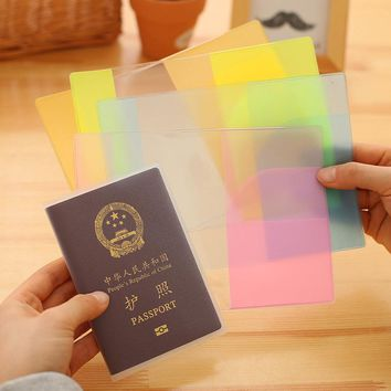 candy color Passport Holder Cover Case Transparent phone ticket clip card cover multi - functional waterproof passports holders