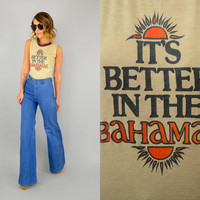 vtg 70s DISTRESSED 'It's Better In The Bahamas' 50/50 Worn-In soft Ringer SOUVENIR sleeveless TOP, extra small-small