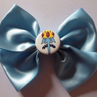 Adventure Time Ice King Hair Bow - Cute Pale Baby Blue Satin Hairbow Cartoon Network Kawaii Pastel Scene Unique OOAK Jake Dog Finn Human Emo