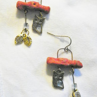 Owl charms/ Antique Gold Metal leaves/Acrylic Coral/Dangle earrings