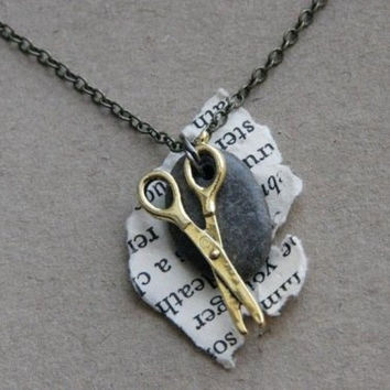 Rock Paper Scissor Necklace by RPSshoot on Etsy