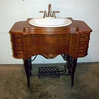 Antique Sewing Machine Converted to Bathroom Vanity by debbyeby