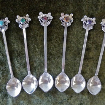 Antique Arts & Crafts Spoon Set - Sterling with Semi-precious Stones