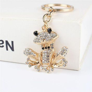 CREYIJ6 Lovely Frog Pendant Charm Rhinestone Crystal Purse Bag Keyring Key Chain Accessories Wedding Party Holder Keyfob Gift