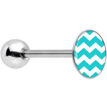 Stainless Steel Turquoise and White Chevron Barbell Tongue Ring