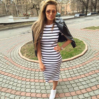 Short Sleeve Stripes Women's Fashion One Piece Dress [11739580815]