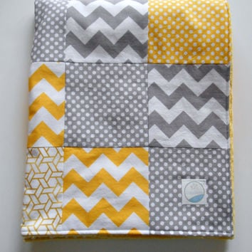 Minky Baby Patchwork Quilt Blanket Yellow Gray Riley Blake Chevrons and Dots--Made to Order