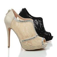 Eternity71X Rhinestone Studded Lace Platform Stiletto Dress Heels