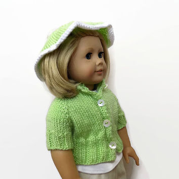 Doll Clothes, 18 Inch Doll Sweater, Green Doll Sweater