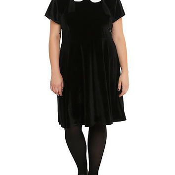 Black Velvet White Collar Dress Plus Size