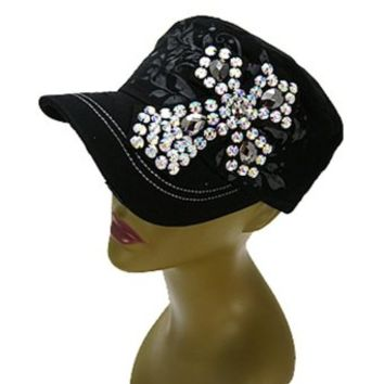 Rockstar Studded Rhinestone Bling Cross Hat (Black)
