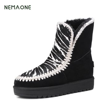 NEMAONE genuine leather fur snow boots 100% wool women ankle boots High-quality warm winter shoes Australian style lady shoes