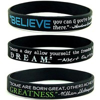 (12-pack) INSPIRATIONAL QUOTE WRISTBANDS - Believe, Dream, & Greatness - Wholesale Lot Accessories Bracelets in Bulk Unique Gift Items Bundle