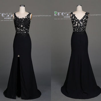 2016 Sweet 16 Black Beading Lace  Prom Dress/Sexy V Back Lace Prom Dress/Sexy Evening Gown/Long Prom Dress/Mermaid Prom Dress Long DH509