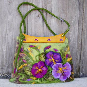 Unique felted bag with 3D flowers with wooden vintage handles bags, designer's purse, nuno felted on silk fabric. OOAK