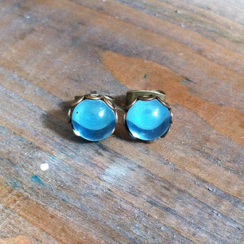 Blue Stud Earrings - Blue Glass Stud Earrings - Bronze Stud Earrings, Light Blue Post Earrings